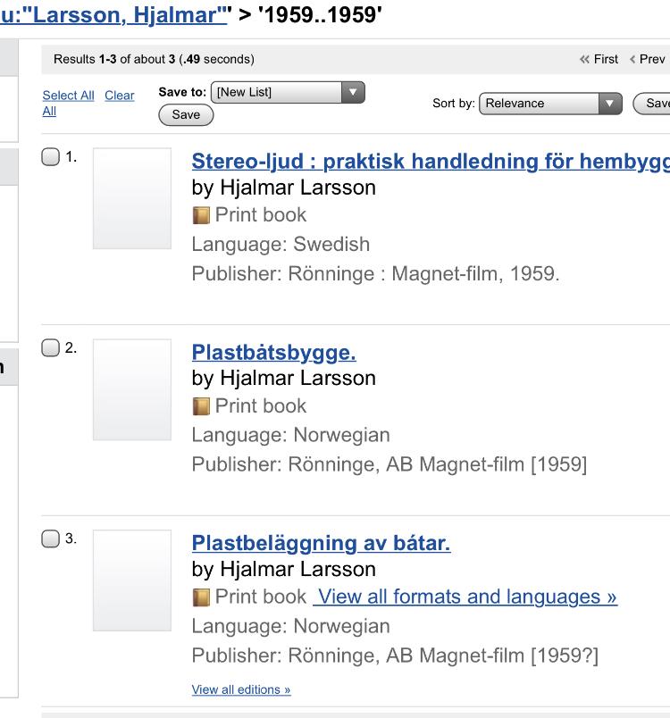 Hjalmar Larsson, Gullebo Rönninge, publikationer